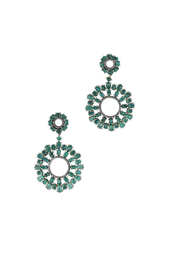 Loren Jewels Gold & Silver Diamond & Emerald Flower Earrings