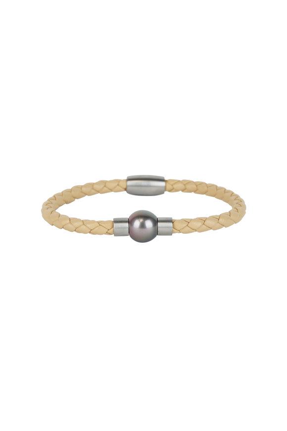 Loren Jewels Beige Leather & Pearl Bracelet