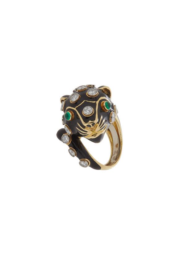 David Webb 18K Gold Black Leopard Emerald Ring