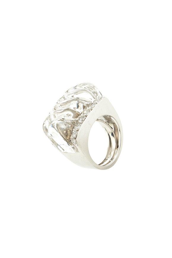 David Webb 18K Gold & Silver Carved Rock Crystal Ring