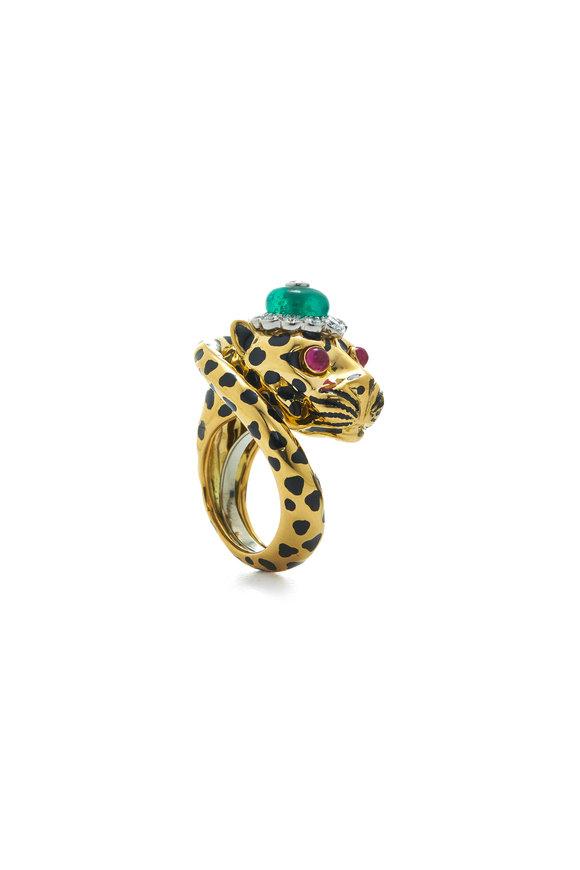 David Webb 18K Yellow Gold Ruby & Emerald Leopard Ring