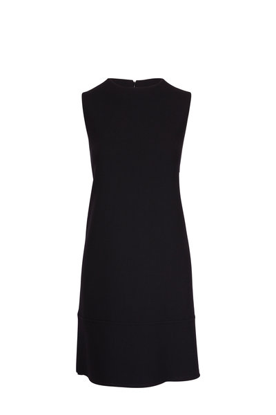 Olivine Gabbro - Grace Black Double-Faced Wool Dress