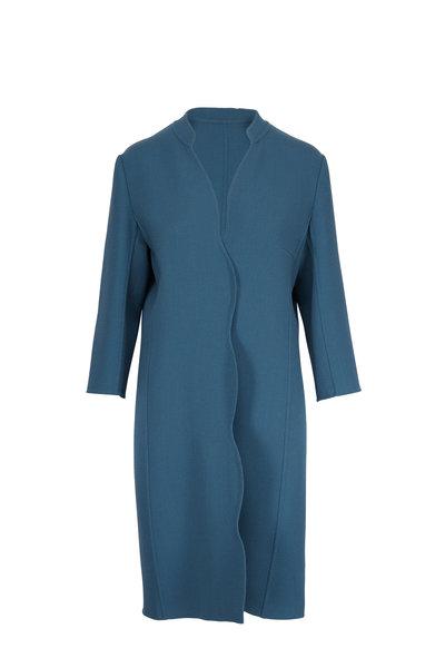 Olivine Gabbro - Teal Wool Scallop Edge Long Coat