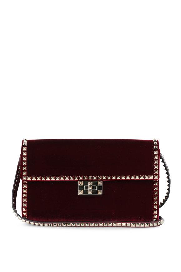 Valentino Garavani No Limit Rockstud Burgundy Shoulder Bag