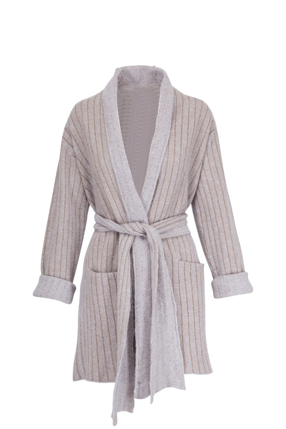 Lainey Keogh Coyote Silver Cashmere & Silk Belted Cardigan