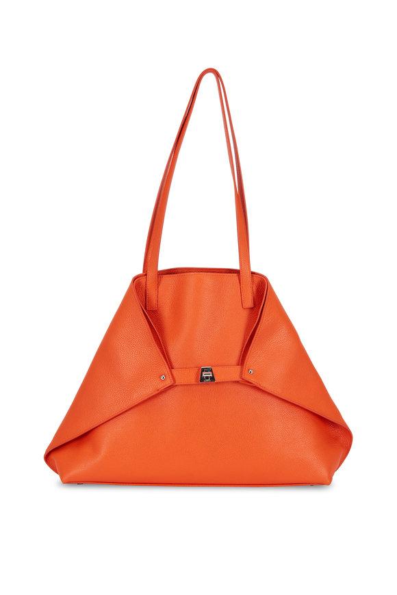 Akris AI Orange Soft Leather Medium Tote