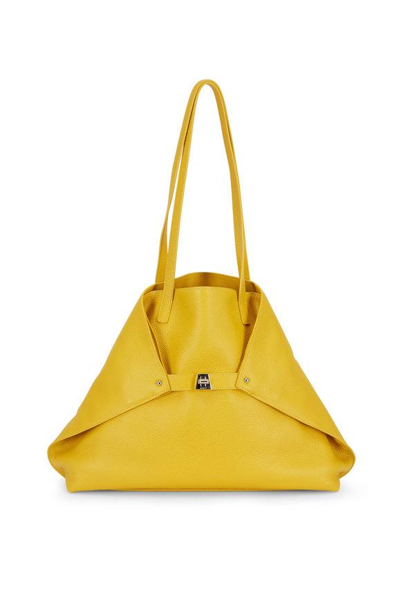Akris AI Yellow Soft Leather Medium Tote
