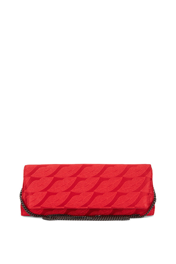 Akris Anouk Red Lips Embroidered Chain Clutch