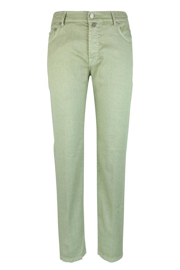 Kiton Green Linen & Cotton Stretch Five Pocket Pant
