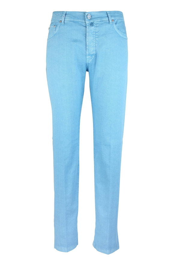 Kiton Aqua Linen & Cotton Stretch Five Pocket Pant