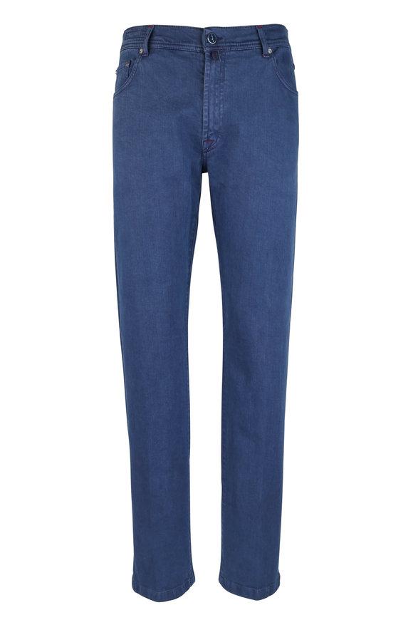 Kiton Blue Stretch Cotton Five Pocket Pant