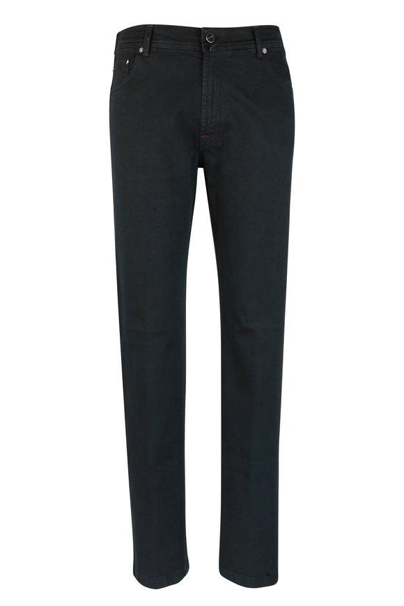 Kiton Black Stretch Cotton Five Pocket Pant