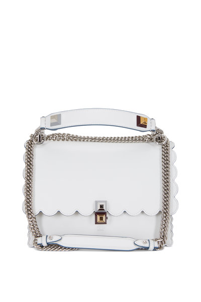 Fendi - Kan I White Leather Scalloped Chain Shoulder Bag