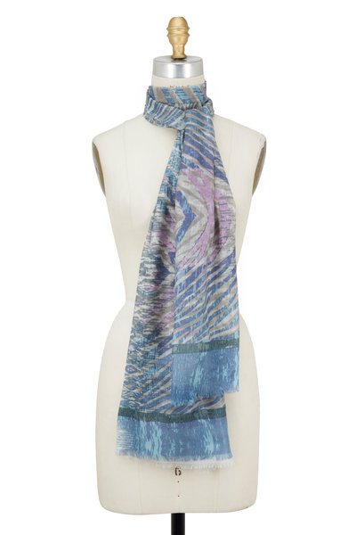 Kinross - Sage Multi Cashmere & Silk Animal Ikat Print Scarf