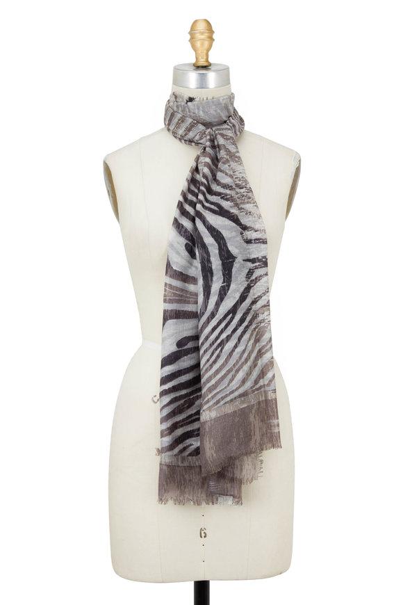 Kinross Sand Cashmere & Silk Animal Ikat Printed Scarf