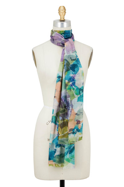 Kinross - Multicolor Wool Floral Printed Scarf