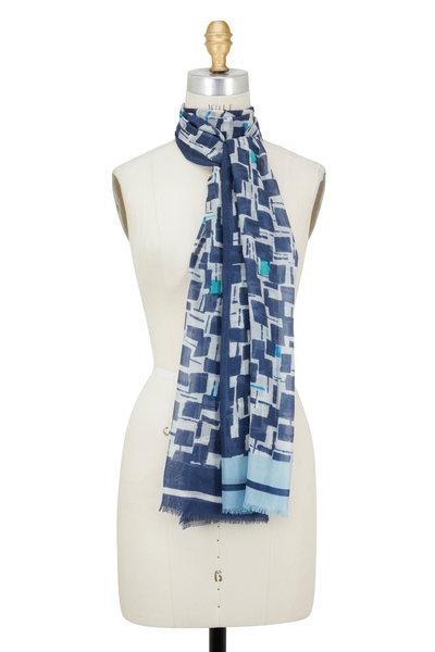 Kinross - Crystal Cashmere & Silk Geometric Printed Scarf