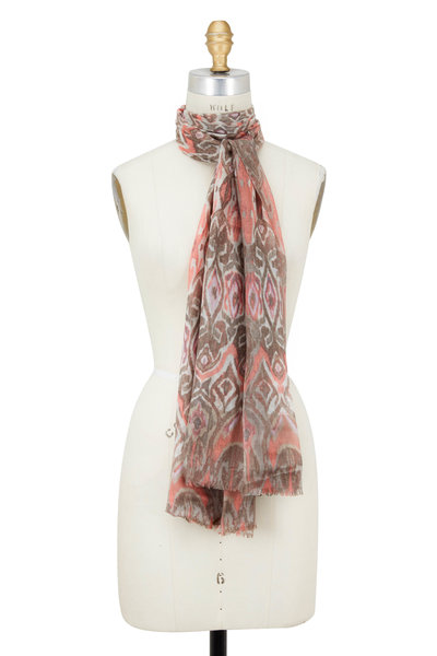 Kinross - Nectar Multi Cashmere & Silk Tapestry Print Scarf