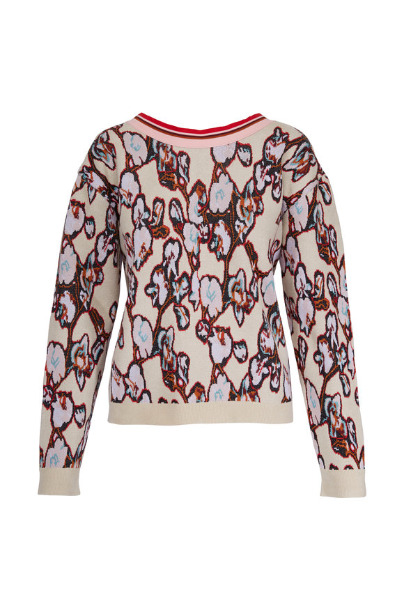Dorothee Schumacher Flowery Meadow Jacquard Back Zip Sweater