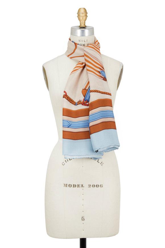 Rani Arabella Fog Stirrup Print Cashmere, Silk & Wool Scarf