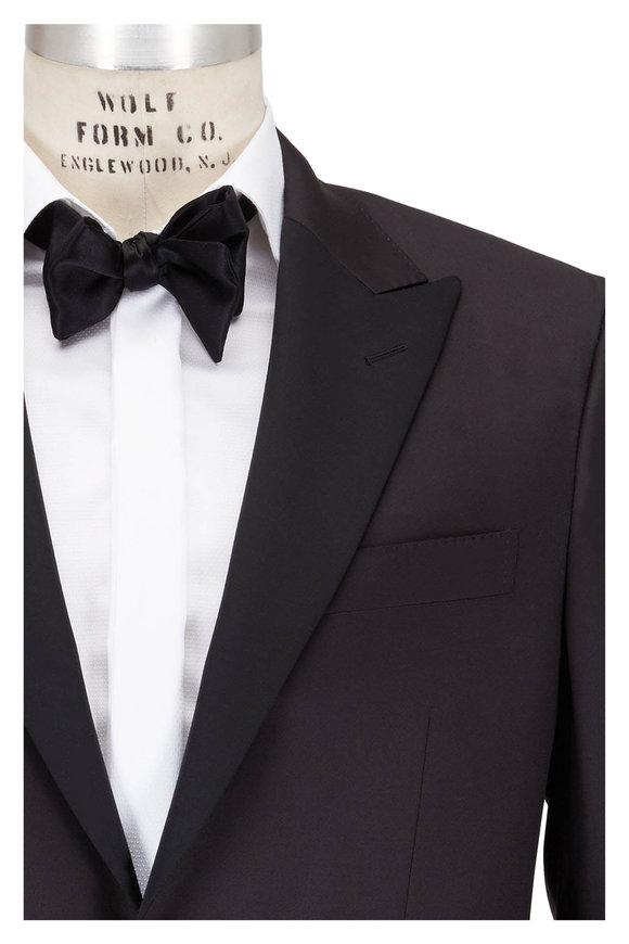 Canali Black Wool Peak Lapel Tuxedo