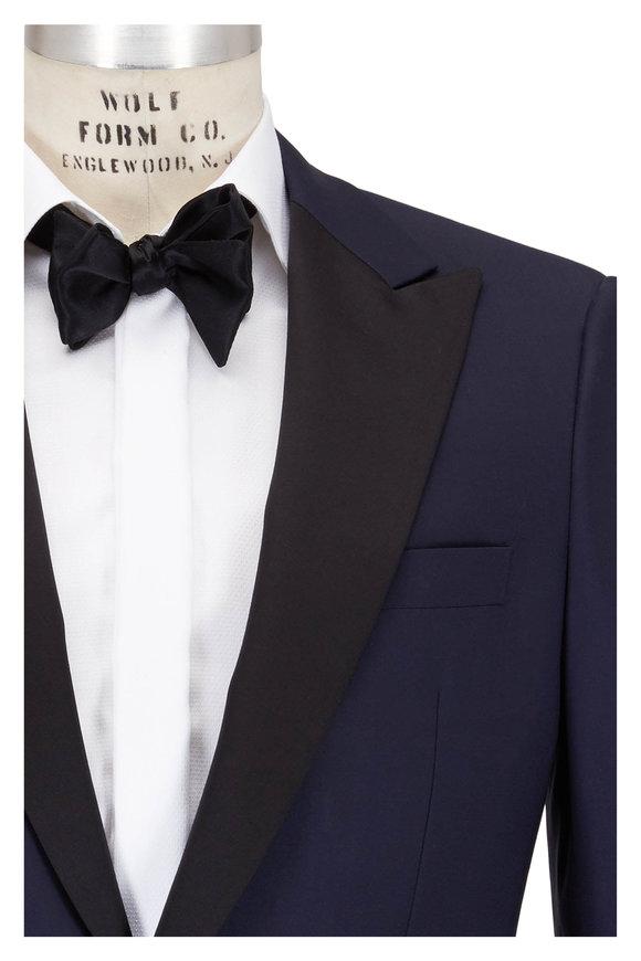 Samuelsohn Bennet Navy Blue Wool Peak Lapel Tuxedo