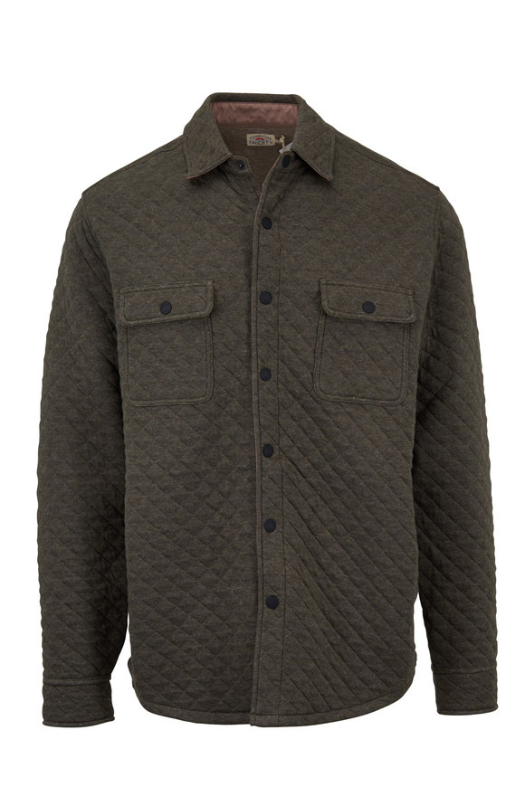 Faherty Brand Belmar Olive Heather Quilted Shirt Jacket