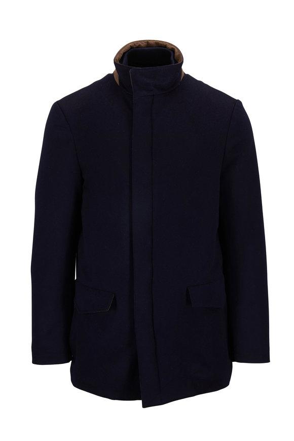 Maurizio Baldassari Navy Wool Padded Field Jacket