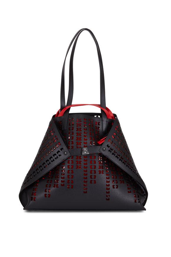 Akris Ai Black Laser Cut Leather Bag