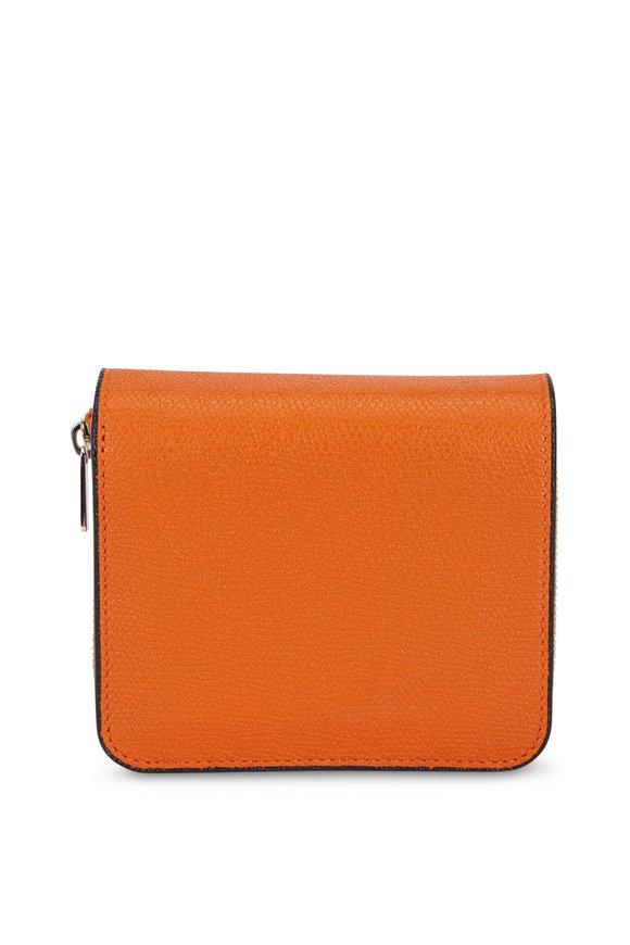 Valextra Orange Grained Leather Double Wallet