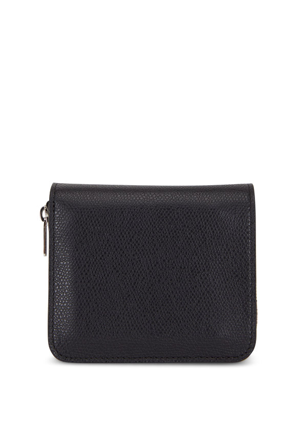 Valextra Black Grained Leather Double Wallet