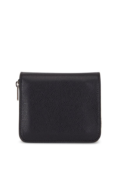 Valextra - Black Grained Leather Double Wallet