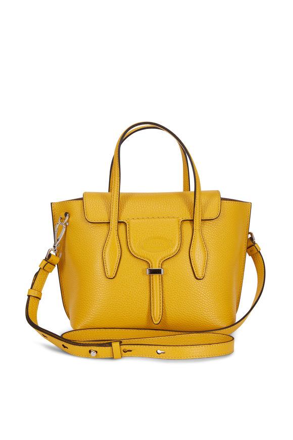 Tod's New Joy Yellow Pebbled Leather Mini Hobo Bag