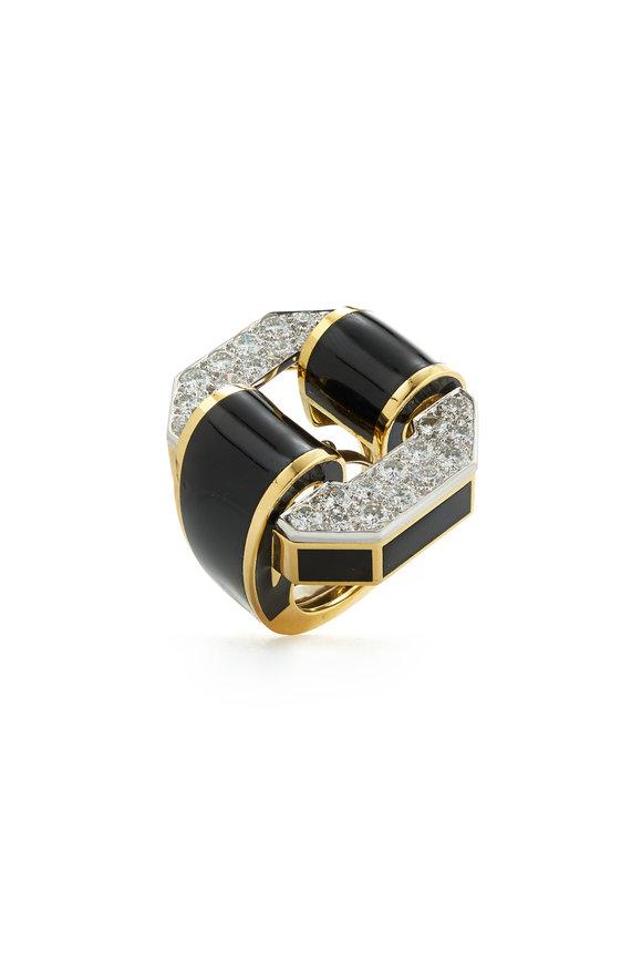 David Webb 18K Gold & Silver Black Enamel Tire Ring