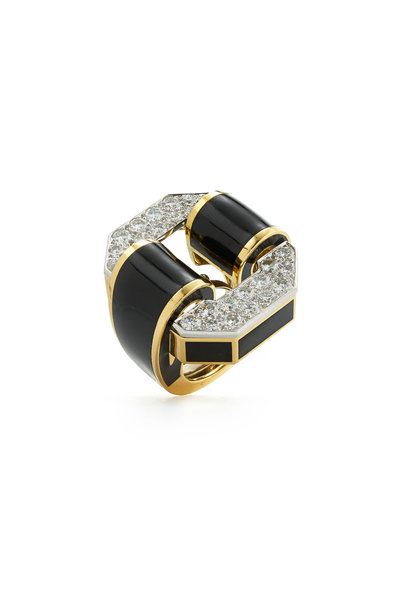 David Webb - 18K Gold & Silver Black Enamel Tire Ring