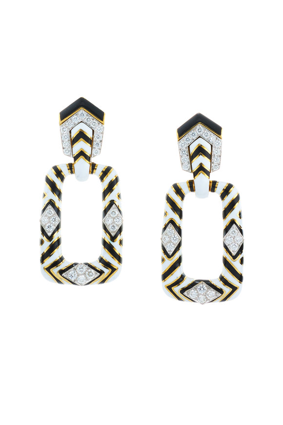 David Webb 18K Gold Black & White Enamel Zebra Earrings