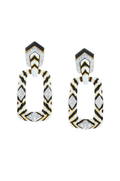 David Webb - 18K Gold Black & White Enamel Zebra Earrings