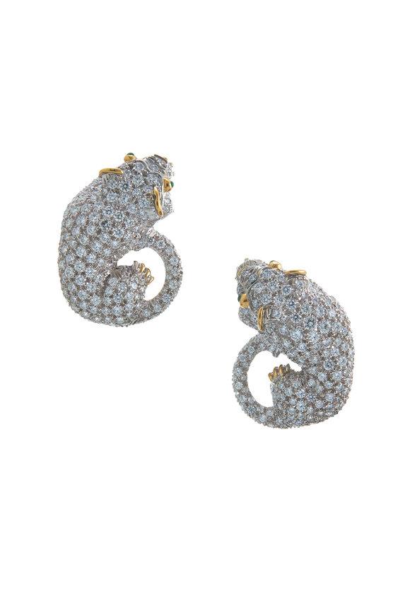 David Webb 18K Gold Emerald & Diamond Lion Earrings