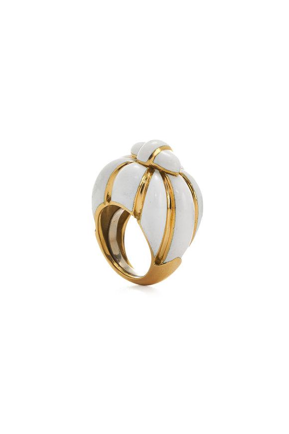 David Webb 18K Yellow Gold White Enamel Ring