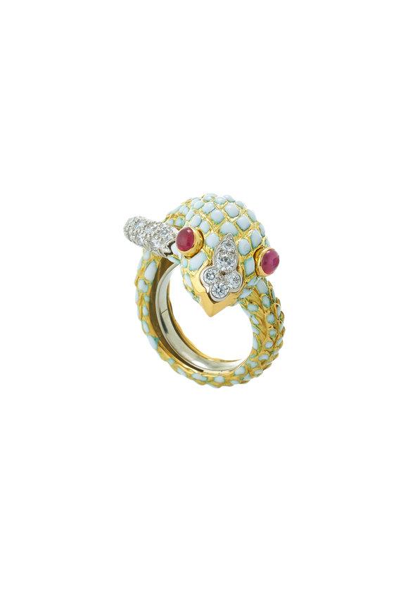 David Webb 18K Yellow Gold & Silver White Enamel Snake Ring