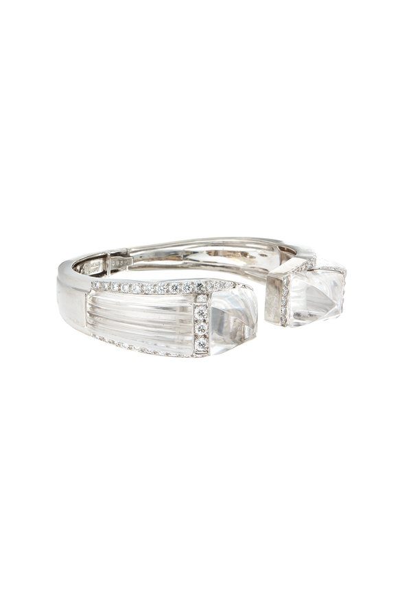 David Webb 18K White Gold Carved Rock Crystal Bracelet