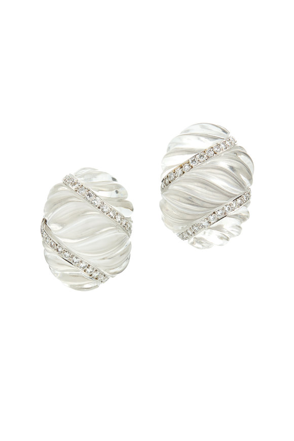 David Webb 18K Gold & Platinum Fluted Rock Crystal Earrings