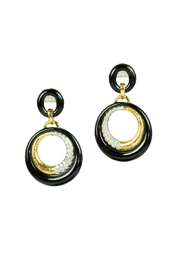 David Webb 18K Yellow Gold & Enamel Diamond Earrings