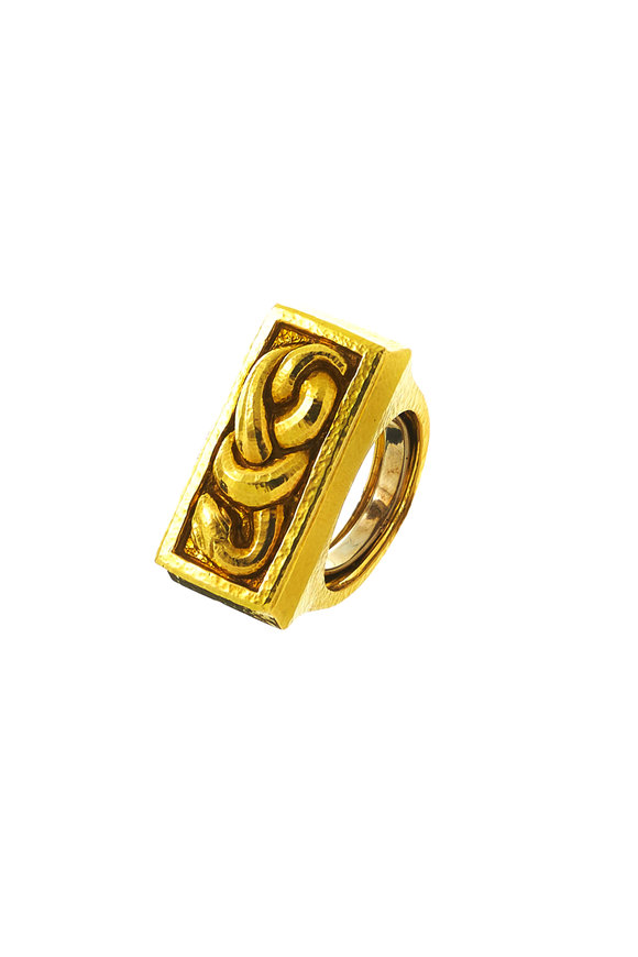 David Webb 18K Yellow Gold Hammered Snake Ring