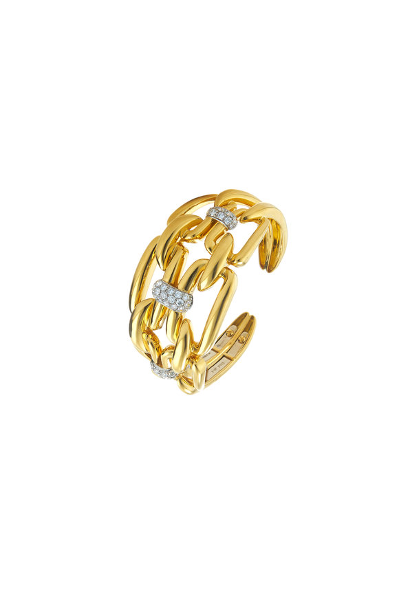 David Webb Yellow Gold Diamond Chain Link Cuff