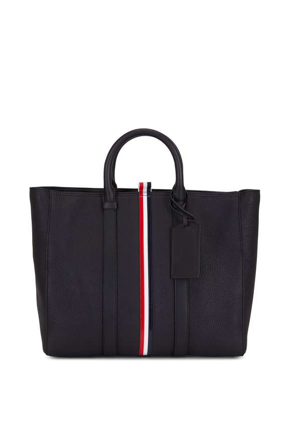 Thom Browne RWB Stripe Black Leather Short Tote Bag