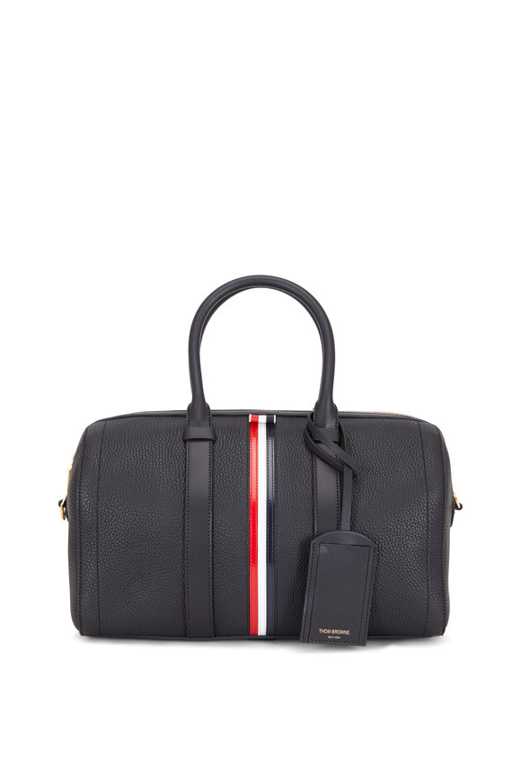 Thom Browne RWB Stripe Black Leather Medium Holdall Bag