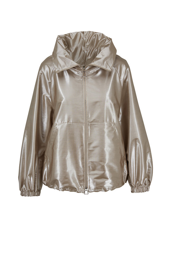 Akris Veronique Metallic Taffeta Bomber Jacket