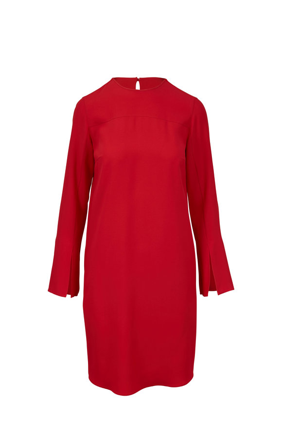 Akris Punto Rosso Forte Tricotine Trumpet Sleeve Dress