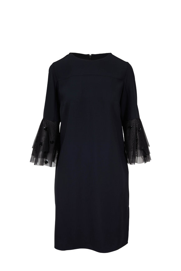 Akris Punto Black Tricotine Tulle Bell Sleeve Dress